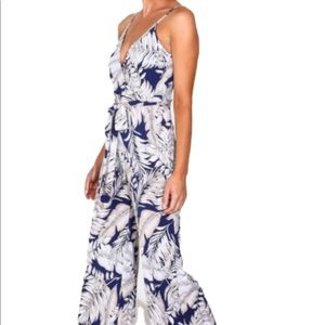 Navy and White Print Jumpsuit